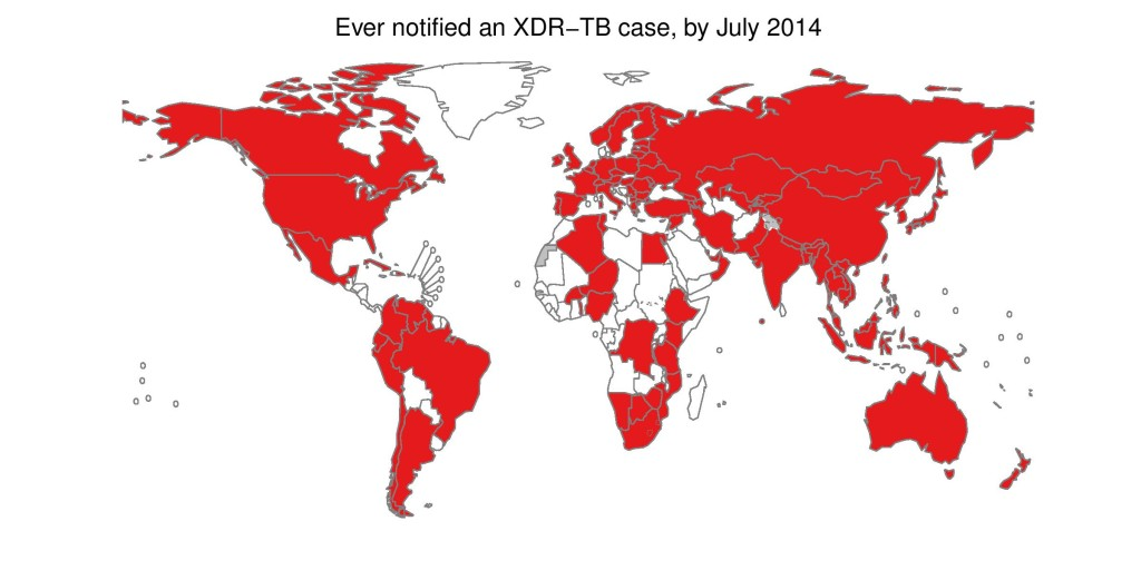 Map of countries where XDR TB has occurred &#169 WHO