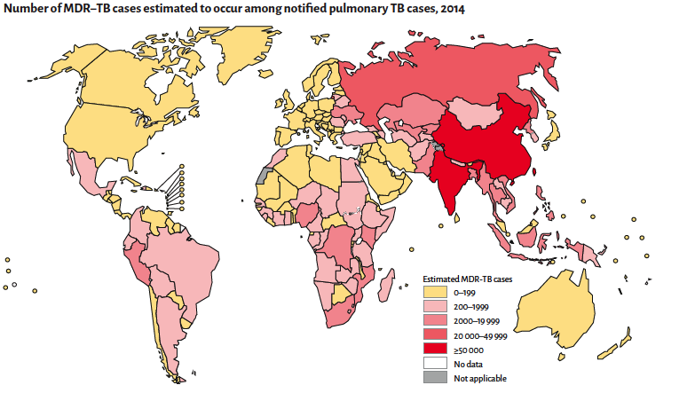 Number of estimated MDR TB cases in 2014