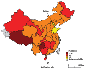 China is a country that appears in all three high burden TB lists