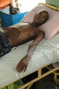A patient with HIV and TB in hospital in Nigeria © DAHW